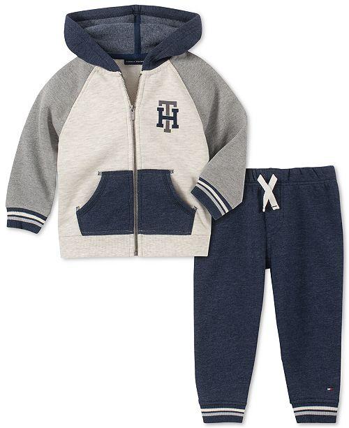 Tommy Hilfiger Baby Boys 2-Pc. Fleece Colorblocked Hoodie & Jogger Pants Set