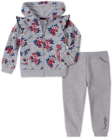 Baby Girls 2-Pc. Fleece Floral-Print Hoodie & Jogger Pants Set