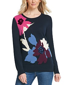 DKNY Floral-Print Ribbed-Edge Sweater