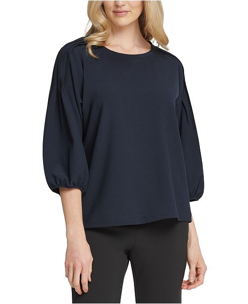 DKNY Pleated-Shoulder Top