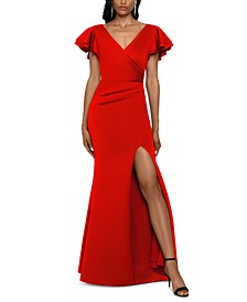 Ruffled-Sleeve Slit Scuba Gown