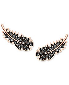 Rose Gold-Tone Pavé Feather Stud Earrings