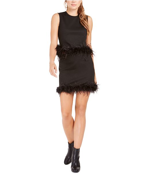 Lucy Paris Feather-Trim Tank Top and Mini Skirt