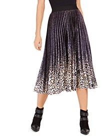 Pleated Animal-Print Velvet Midi Skirt