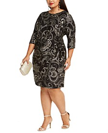 Plus Size Foil-Print Side-Knot Dress