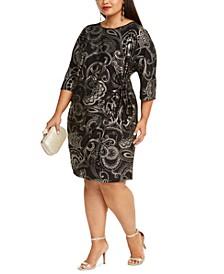 Plus Size Foil-Print Side-Knot Dress