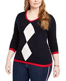 Plus Size Cotton V-Neck Argyle Sweater