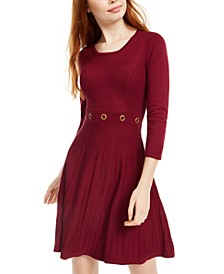Juniors' Grommet-Waist Fit & Flare Dress