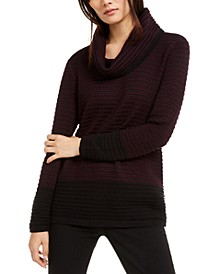 Cotton Mixed-Stitch Cowlneck Sweater