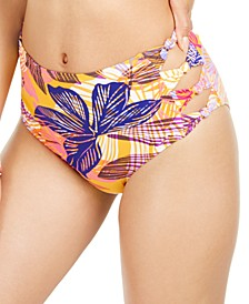 Juniors' Palm Play Printed Side-Knot High-Waist Bikini Bottoms, Created for Macy's