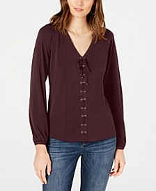 INC Lace-Up Top, Created for Macy's