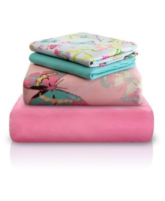 Pink Decorative Butterfly Print Double-Brushed Microfiber 4 Piece Twin Sheet Set