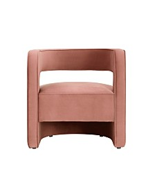 Nicole Miller Neil Velvet Barrel Accent Chair with Open Back