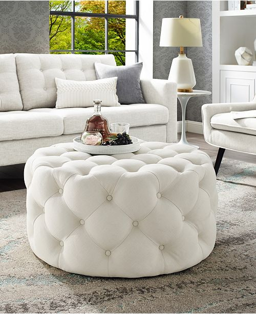 Strange Bella Upholstered Tufted Allover Round Cocktail Ottoman Short Links Chair Design For Home Short Linksinfo