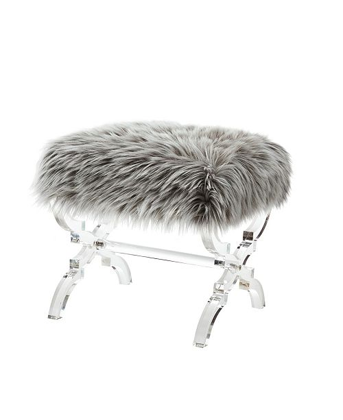 Admirable Giselle Faux Fur Ottoman With Acrylic X Leg Frame Alphanode Cool Chair Designs And Ideas Alphanodeonline