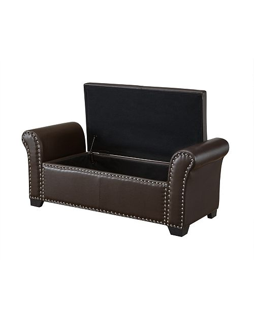 INSPIRED HOME Noah Storage Bench with Nailhead Trim