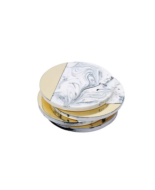 Classic Touch Marbleized Wine Coaster, Set of 4