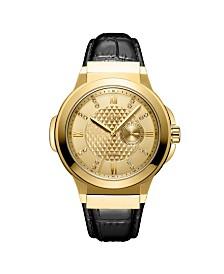 JBW Men's Saxon Diamond (1/6 ct. t.w.) Watch in 18k Gold-plated Stainless Steel Watch 48mm