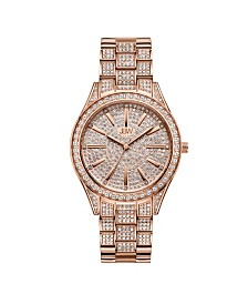 JBW Women's Cristal Diamond (1/8 ct. t.w.) Watch in 18k Rose Gold-plated Stainless-steel Watch 38mm
