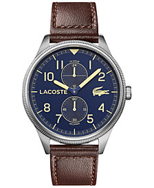 Lacoste Men's Continental Brown Leather Strap Watch 44mm
