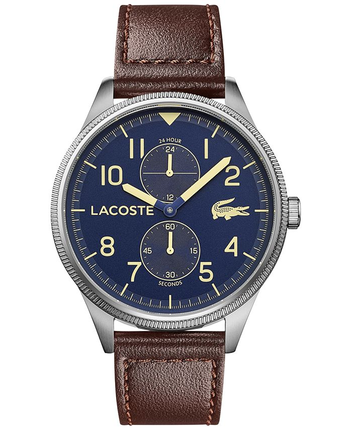 Lacoste - Men's Continental Brown Leather Strap Watch 44mm