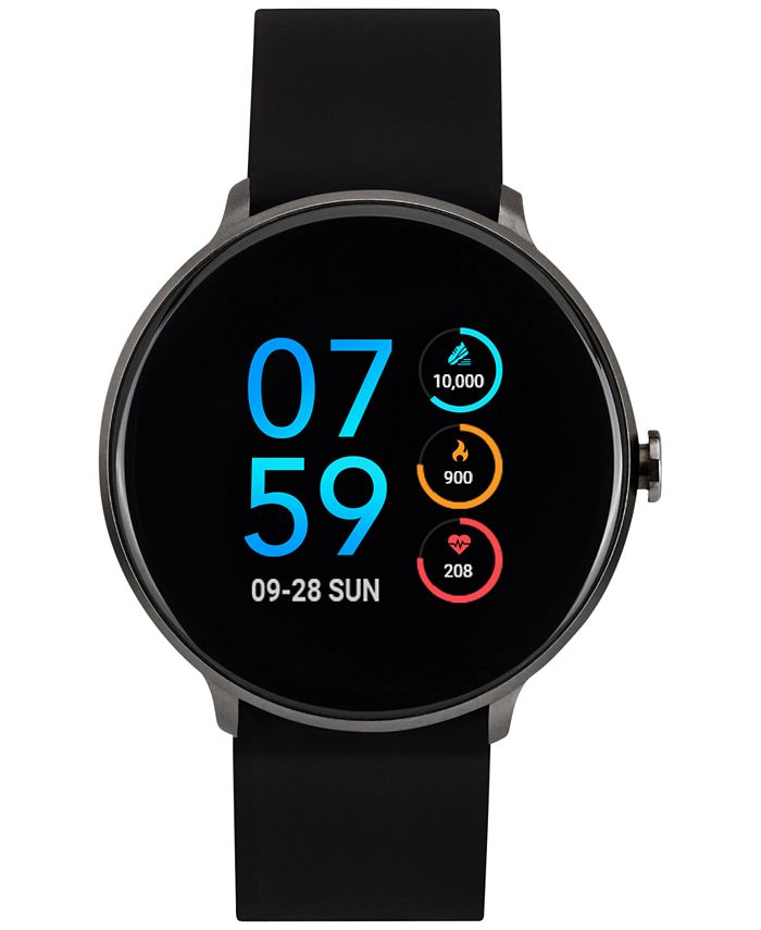 iTouch - Unisex Sport Black Silicone Strap Touchscreen Smart Watch 43.2mm