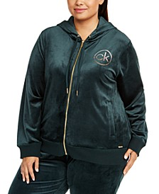 Plus Size Beaded-Logo Velour Hoodie