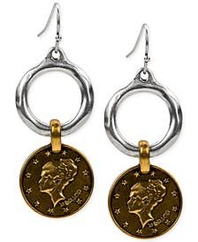 Two-Tone Coin Hoop Drop Earrings