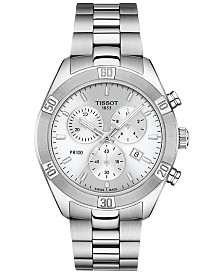 Tissot Women's Swiss Chronograph T-Classic PR 100 Gray Stainless Steel Bracelet Watch 38mm