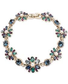 Gold-Tone Crystal, Stone & Imitation Pearl Flex Bracelet
