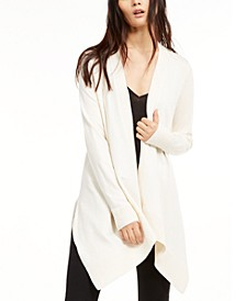 Pointelle-Trim Open-Front Cardigan