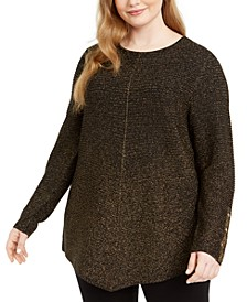 Plus Size Metallic Ribbed-Knit Tunic Sweater, Created for Macy's