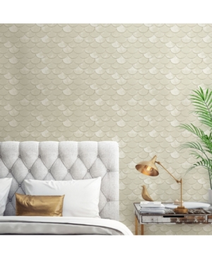 Genevieve Gorder for Tempaper Pearl Brass Belly Self-Adhesive Wallpaper