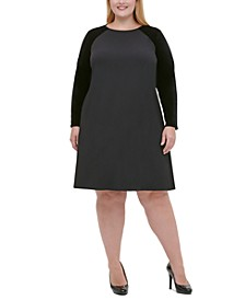 Plus Size Velvet-Sleeve A-Line Dress