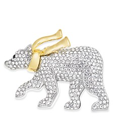 Two-Tone Pavé Polar Bear with Scarf Pin, Created for Macy's