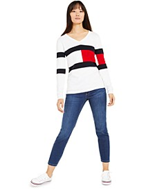 Cotton V-Neck Sweater & Ankle Skinny Jeans, Created for Macy's