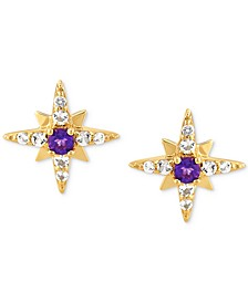 Amethyst (1/8 ct. t.w.) & White Topaz (1/4 ct. t.w.) Star Stud Earrings in 14k Gold