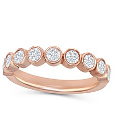 Round Diamond (1/2 ct. t.w.) Bezel Band in 14K Rose Gold