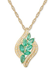 "Emerald (3/4 ct. t.w.) & Diamond (1/10 ct. t.w.) 18"" Pendant Necklace in 14k Gold Over Sterling Silver"