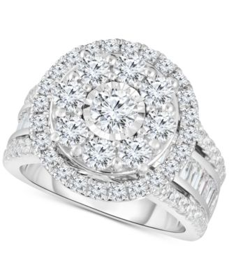 Diamond Halo Cluster Engagement Ring (3 ct. t.w.) in 10k White Gold
