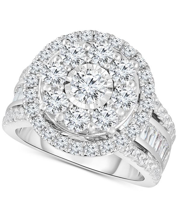TruMiracle Diamond Halo Cluster Engagement Ring (3 ct. t.w.) in 10k White Gold