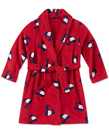 Toddler, Little & Big Girls Heart Flag-Print Plush Robe