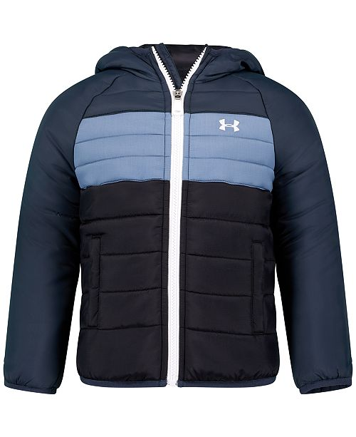 Under Armour Big Boys Pronto Colorblock Puffer Hooded Jacket