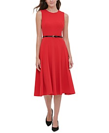 Belted Midi Fit & Flare Dress