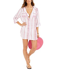 Mykonos Cotton Striped Shirtdress Cover-Up