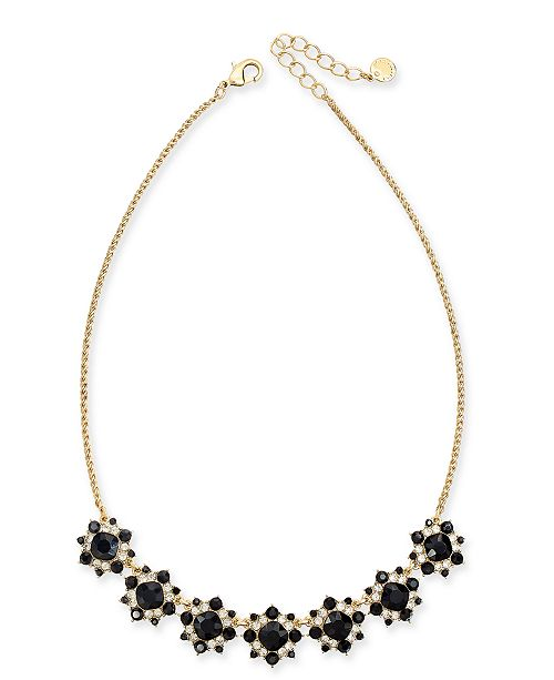 """Charter Club Gold-Tone Crystal & Stone Cluster Statement Necklace, 17"""" + 2"""" extender, Created for Macy's"""