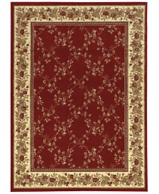 KM Home 1590/RED/5PCT Tuscany Trellis Red Set Area Rug