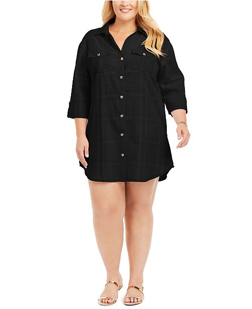 Dotti Plus Size Travel Muse Shirt Cover-Up Dress