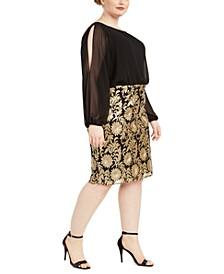 Plus Size Split-Sleeve Sheath Dress