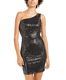 Juniors' One-Shoulder Sequined Dress